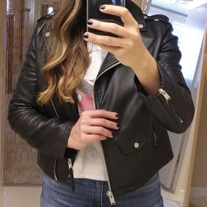 A&F vegan leather motorcycle jacket